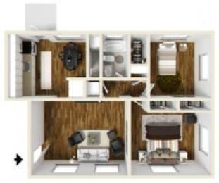 2 Bed - 1 Bath |900 sq ft Floorplan