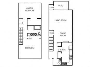 2 Bed - 1.5 Bath |1400 sq ft floorplan