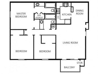 3 Bed - 2 Bath |1550 sq ft floorplan