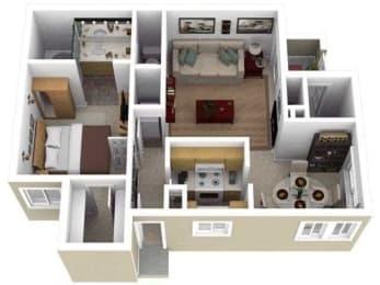 1 Bed - 1 Bath |700 sq ft One Bedroom floorplan