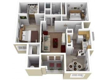 2 Bed - 2 Bath |1035 sq ft Two Bedroom floorplan