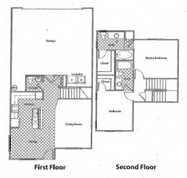 2 Bed - 2.5 Bath |1167 sq ft