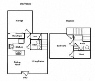 1 Bed - 1.5 Bath |959 sq ft