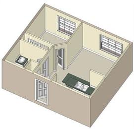 1 Bed 1 Bath, 565 square feet floor plan Portman