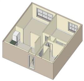 1 Bed 1 Bath, 621 square feet floor plan Raleigh