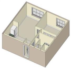 1 Bed 1 Bath, 621 square feet floor plan Victoria
