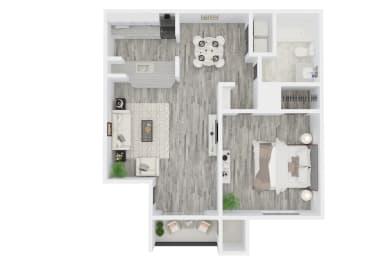 1 Bed - 1 Bath, 667 sq ft floorplan
