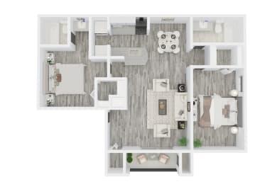 2 Bed - 2 Bath, 1027 sq ft floorplan