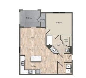 1 Bed - 1 Bath  735 sq ft floorplan