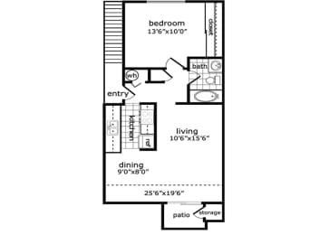 1 Bed, 1 Bath, 708 square feet floor plan Raleigh