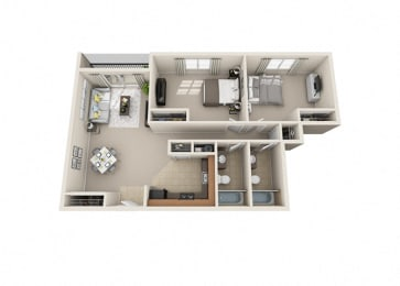 2 Bed, 2 Bath, Up to 1140 sq. ft. floor plan