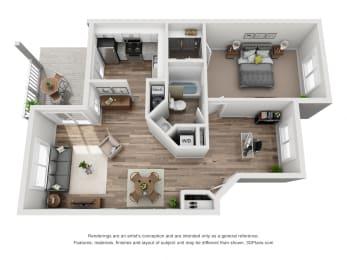 1 Bed - 1 Bath |830 sq ft