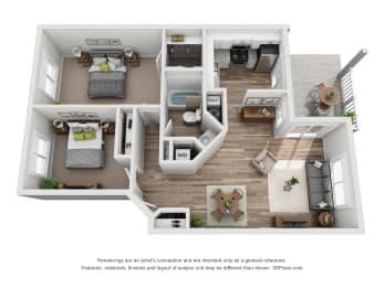 2 Bed - 1 Bath |875 sq ft