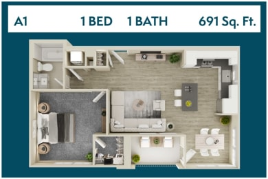 1 Bed 1 Bath 691 square feet floor plan A1 3d furnished