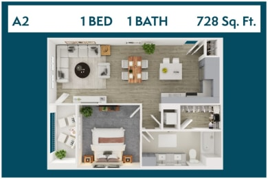 1 Bed 1 Bath 728 square feet floor plan A2 3d furnished