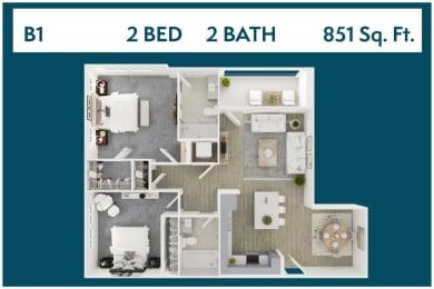 2 Bed 2 Bath 851 square feet floor plan B1 3d furnished