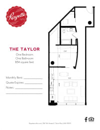 1 Bed 1 Bath 834 square feet floor plan The Taylor
