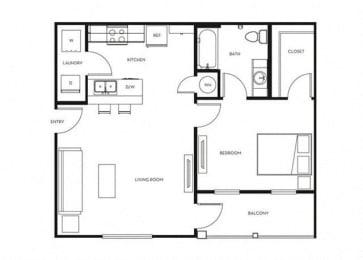 1 Bed, 1 Bath, 702 sq. ft. A1