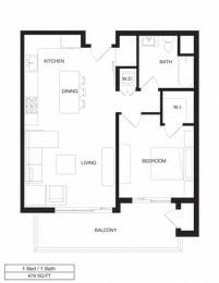 Floor Plan Apartment Residence Three / 1B