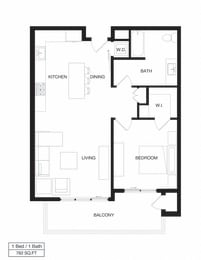 Floor Plan Apartment Residence Two / 1A
