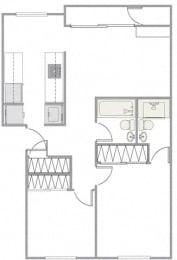 2 Bed - 2 Bath |874 sq ft 2 Bed 2 Bath floorplan