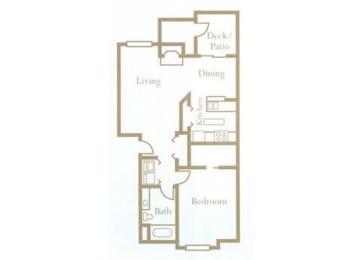 1 Bed - 1 Bath, 750 sq ft