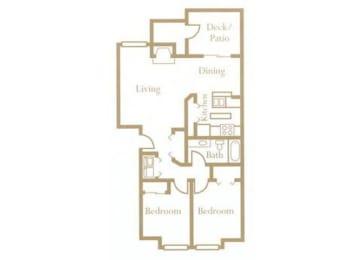 2 Bed - 1 Bath, 850 sq ft