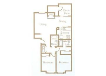2 Bed - 2 Bath, 960 sq ft