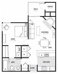1 Bed - 1 Bath |581 sq ft A1 Floorplan at The Fairways Apartments