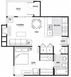 1 Bed - 1 Bath |632 sq ft A2 Floorplan at The Fairways Apartments