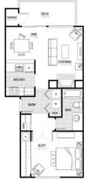 1 Bed - 1 Bath |680 sq ft A3 Floorplan at The Fairways Apartments