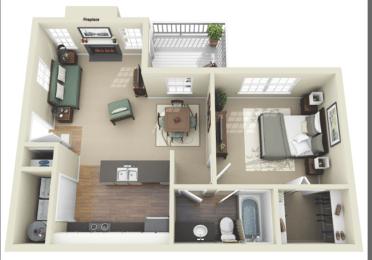 1 Bed - 1 Bath  750 sq ft Allysum floor plan