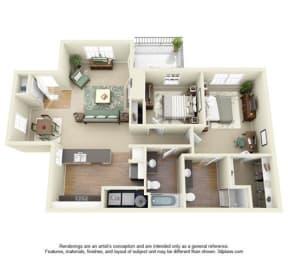 2 Bed - 2 Bath  1041 sq ft Iris floor plan