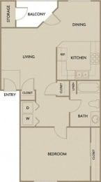 Floor Plan  1 Bed 1 Bath 747 square feet floor plan A1A