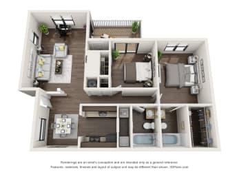 2 Bed, 2 Bath, 980 sq. ft. 2x2 A