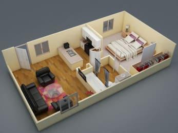 Floor Plan One Bed   One Bath   C1