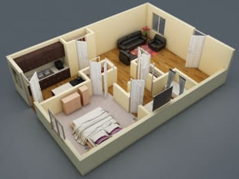 Floor Plan One Bed   One Bath   C3