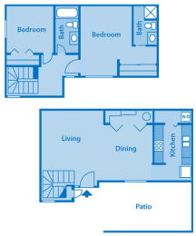 Camino Seco Village 1A Floor Plan layout. Living room, dining area and kitchen on the bottom ground floor, bedrooms and bathrooms on the second floor.