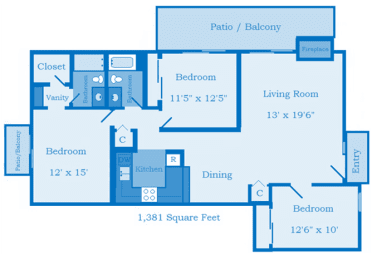 Cottonwood Creek 3 Bedroom Floor Plan image depicting layout. Patio/Balcony, bedroom and bathrooms on the left. Kitchen 2nd bedroom in the middle. Living room, large patio, and 3rd bedroom on the right.