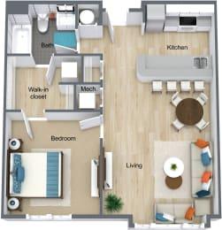 Floor Plan 1 Bedroom Station Square