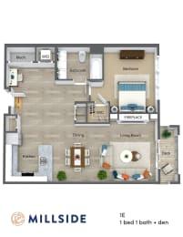 Millside One Bedroom One Bath Floor Plan