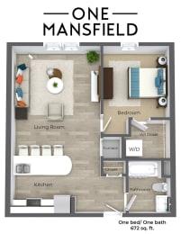 One Mansfield One Bedroom floor plan