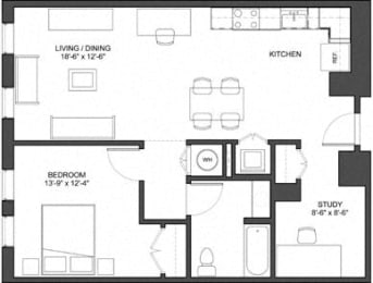 1bedroom with study