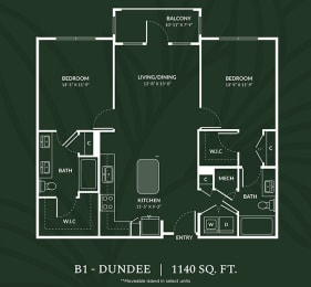 B1 2 BED 2 BATH DUNDEE Floor Plan at Alta Croft, Charlotte, North Carolina