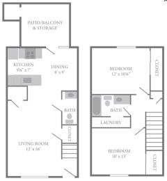 Floor Plan Two Bedroom Townhome