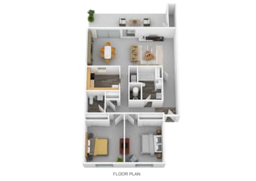 2 Bedrooms and 1.5 Bathroom Floor Plans at Lawrence Landing, Indianapolis, IN, 46226