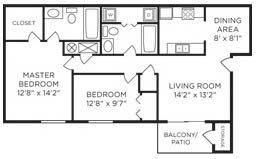 2 Bed 2 Bath Floor Plan at Galbraith Pointe Apartments and Townhomes*, Cincinnati