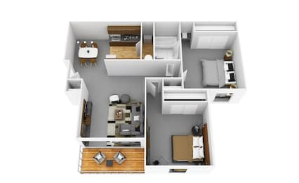 2 Bedroom 1 Bathroom Floor Plan at Fox Run, Dayton
