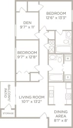 2 Bedroom 2 Bathroom Floor Plan at Galbraith Pointe Apartments and Townhomes*, Ohio, 45231