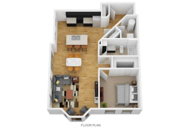 1 Bedroom C 1 Bath Floor Plan at Monmouth Row Apartments, Newport, KY